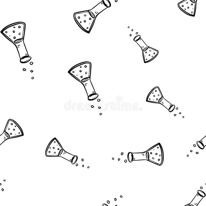 Sch?ne Handgezogene nahtlose Mustermode-Phiolenikone Hand gezeichnete schwarze Skizze Zeichen/Symbol/Gekritzel Lokalisiert auf We lizenzfreie abbildung