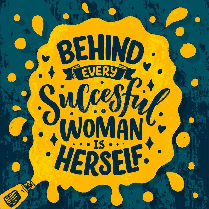 Sch?ne Illustration mit Beschriftung ?ber Frau Handgeschriebenes inspirierend Motivzitat Schablonengestaltungselement druck stockfotografie