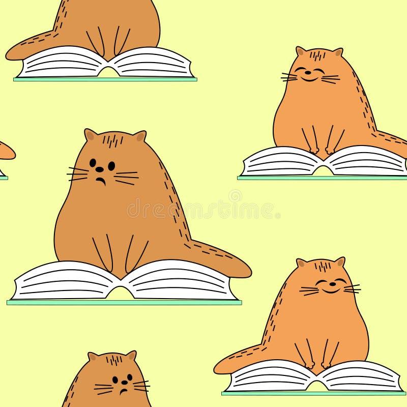 Sch?ne kreative Gewebe Bild von urspr?nglichen K?tzchen Ein Haustier liest ein Buch und ein Lächeln Tapete und Hintergrund für a lizenzfreie abbildung