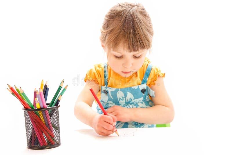 Sch?ne Malerei des gl?cklichen Babys auf einem wei?en Hintergrund stockbilder