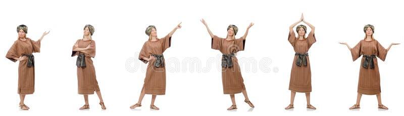 Sch?ne religi?se Nonne lokalisiert auf Wei? lizenzfreie stockfotos