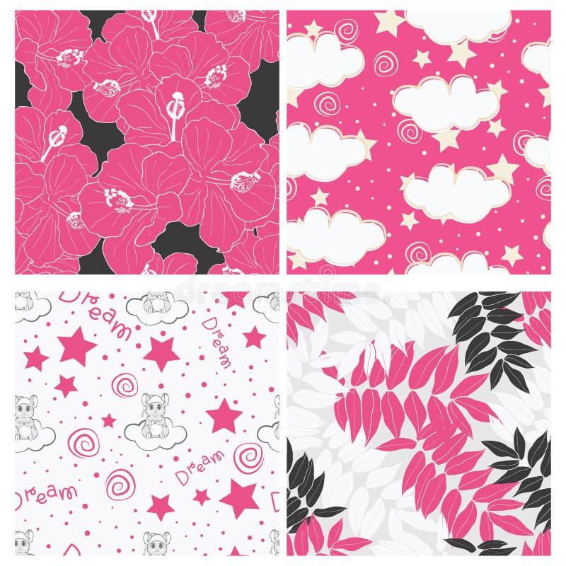 Sch?ne tropische Bl?tter und Himmel voll Sternkinderdes nahtlosen Muster-Entwurfssatzes lizenzfreie abbildung