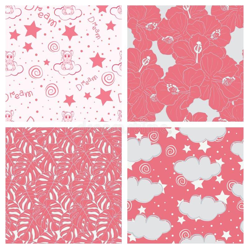 Sch?ne tropische Bl?tter und Himmel voll Sternkinderdes nahtlosen Muster-Entwurfssatzes stock abbildung