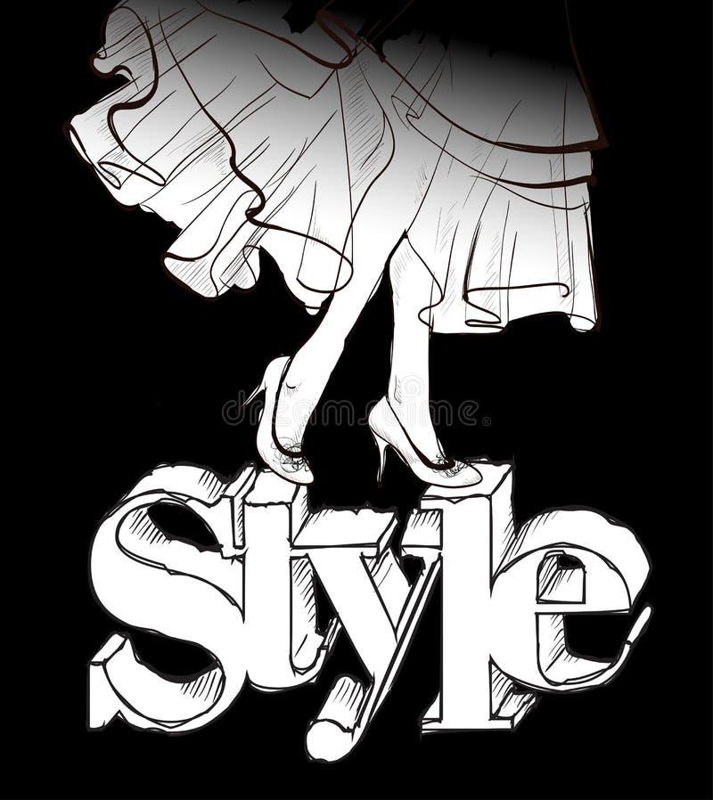 Sch?ne weibliche Fahrwerkbeine Fahrwerkbeine mit hohen Abs?tzen Frau in einem Kleid Figurine auf schwarzem Hintergrund vektor abbildung