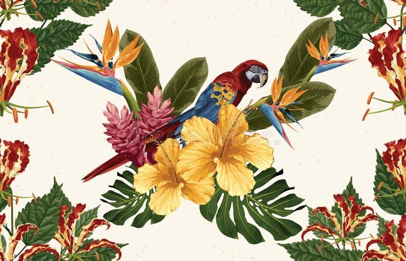 Sch?ner und modischer nahtloser tropischer Musterentwurf der Weinlese in der Superhohen aufl?sung Muster-Dekorations-Beschaffenhe stockbilder