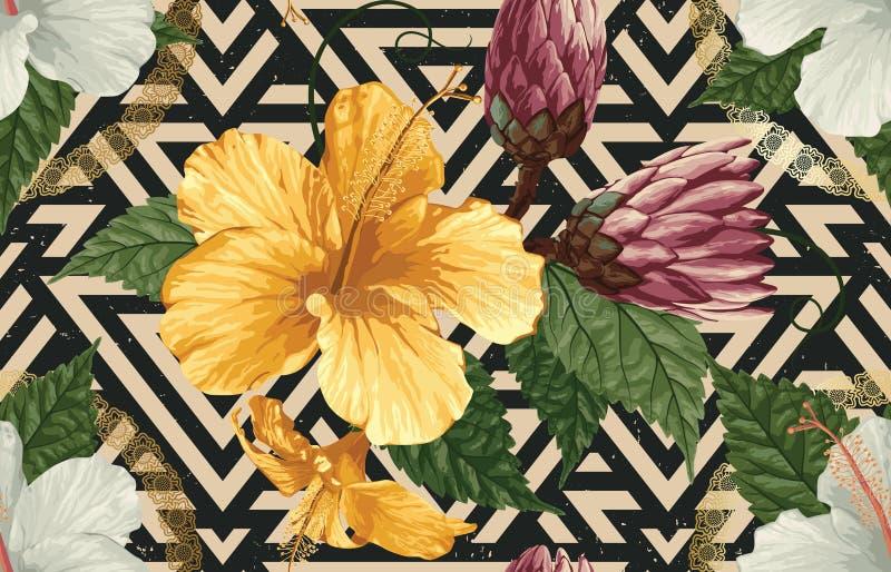 Sch?ner und modischer nahtloser tropischer Sommer-Musterentwurf der Weinlese in der Superhohen aufl?sung Muster-Dekorations-Besch stockbild