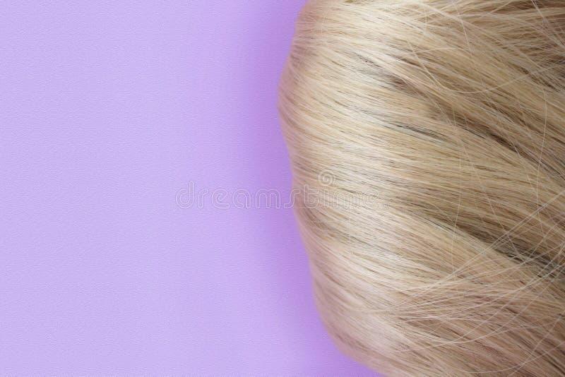 Sch?nes Haar Hellbraunes Haar Haar erfasste in einem Brötchen auf einem lila Hintergrund mit freiem Raum f?r Text Für ein Plakat  lizenzfreie stockfotografie