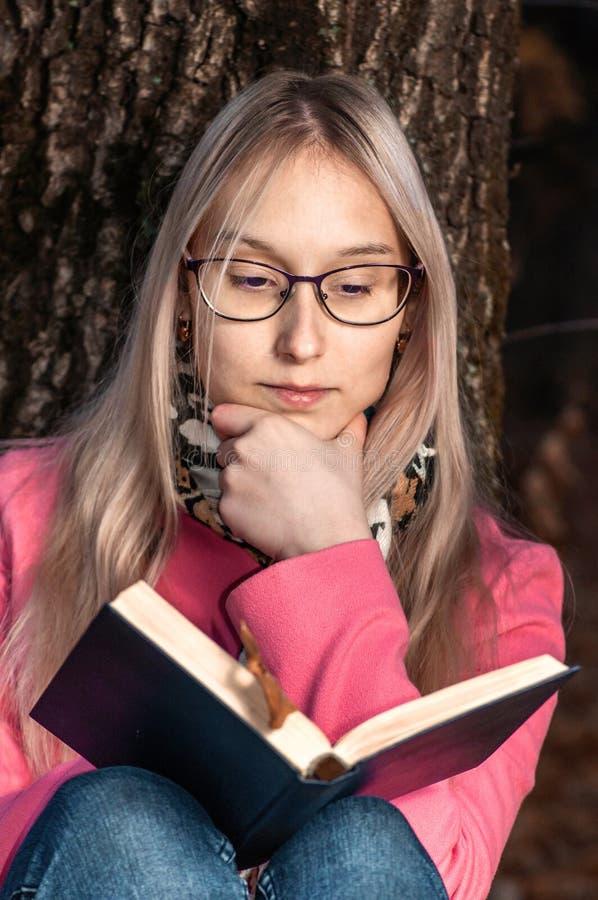 Sch?nes M?dchen im Herbstwald ein Buch lesend Frau sitzt nahe einem Baum und h?lt ein Buch stockbild