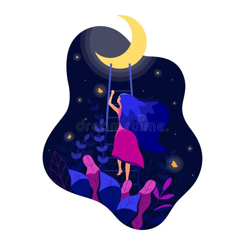 Sch?nheit klettert die Treppe zum Mond Weiblichkeit Verbindung zwischen Frau und dem Mondkonzept Auch im corel abgehobenen Betrag stock abbildung