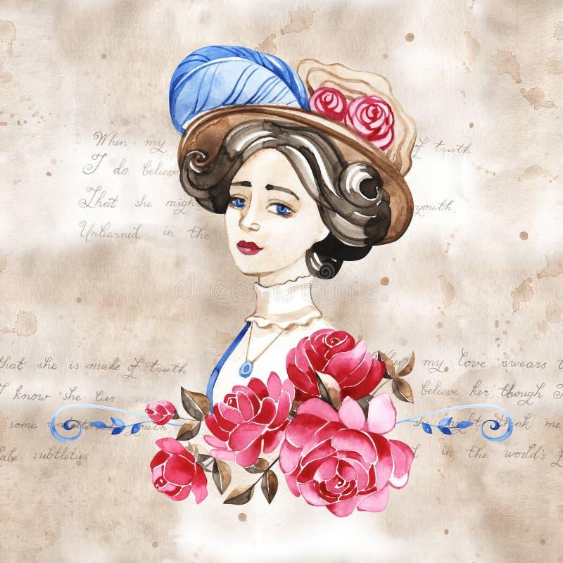 Sch?nheit mit rosafarbenen Blumen, Aquarellmodeillustration Romantischer Hintergrund f?r den Tag der internationalen Frauen lizenzfreie abbildung