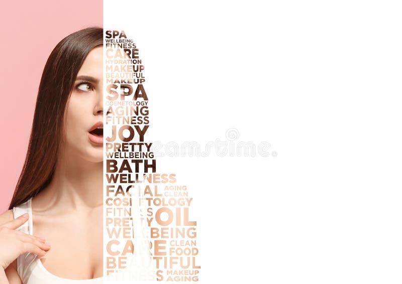 Sch?nheitsfrauen-Gesichtsportr?t mit perfekter Haut vektor abbildung