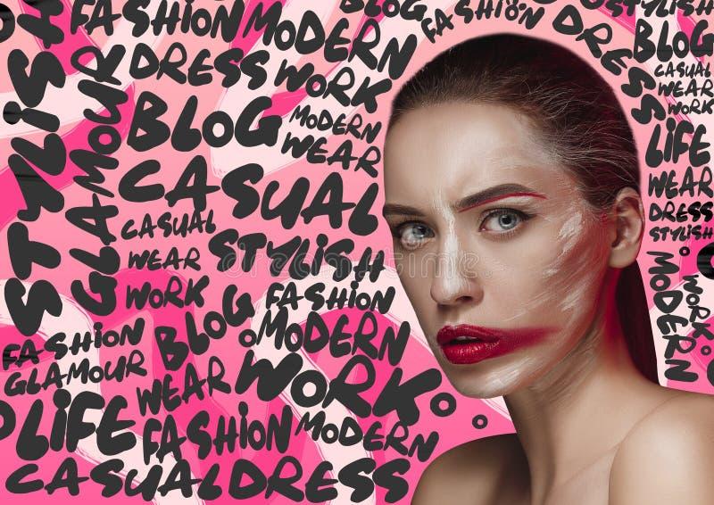 Sch?nheitsfrauen-Gesichtsportr?t mit perfekter Haut lizenzfreie stockfotografie