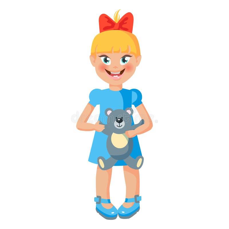 Sch?tzchen girl Nettes stehendes Kind mit Teddybären Karikaturart-Vektorillustration stock abbildung