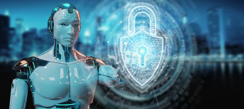 Sch?tzende Daten des wei?en Roboters mit digitaler Wiedergabe des Sicherheitsvorh?ngeschlosshologramms 3D stock abbildung