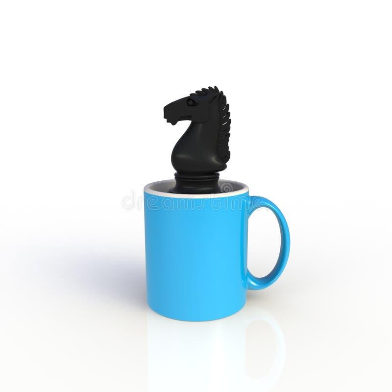 Schaak-nacht met blauwe koffiebeker geïsoleerd op witte achtergrond Malplaatje van de Mock omhoog voor toepassingsontwerp Apparat royalty-vrije illustratie