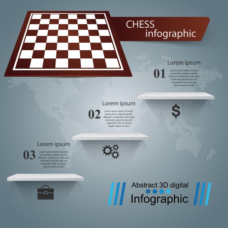 Schaak, spelillustratie Zaken Infographic stock illustratie