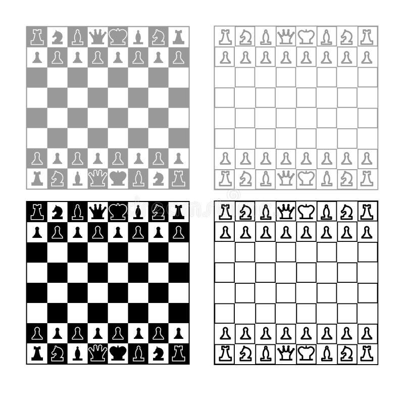 Schaakbord en van de schaakstukkenlijn het overzichts vastgestelde grijze zwarte kleur van het cijferspictogram stock illustratie