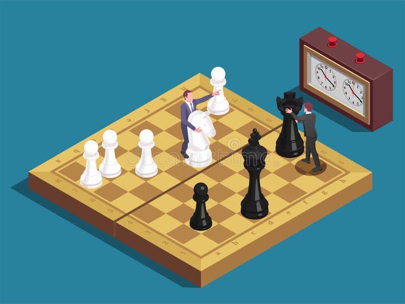 Schaakbord Isometrische Samenstelling royalty-vrije illustratie