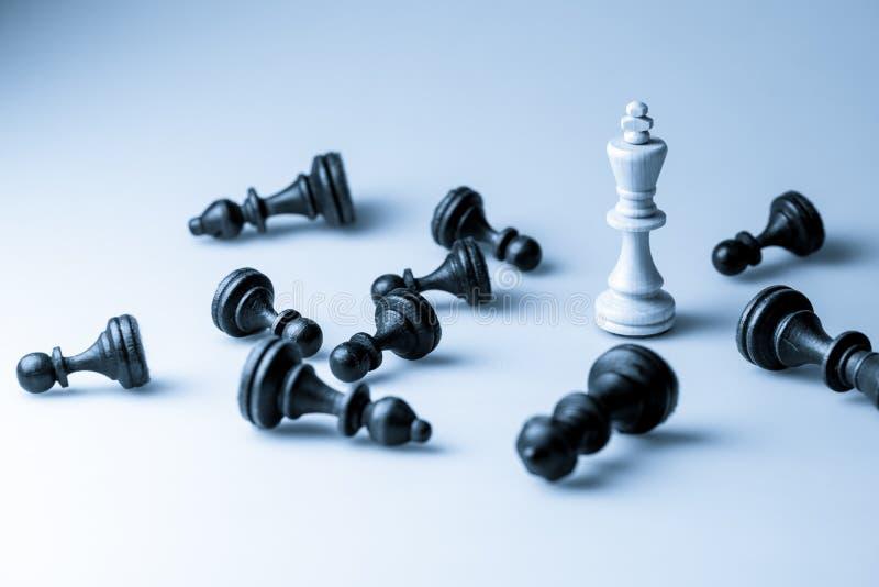Schaakcijfer, bedrijfsconceptenstrategie, leiding, team en su royalty-vrije stock afbeelding