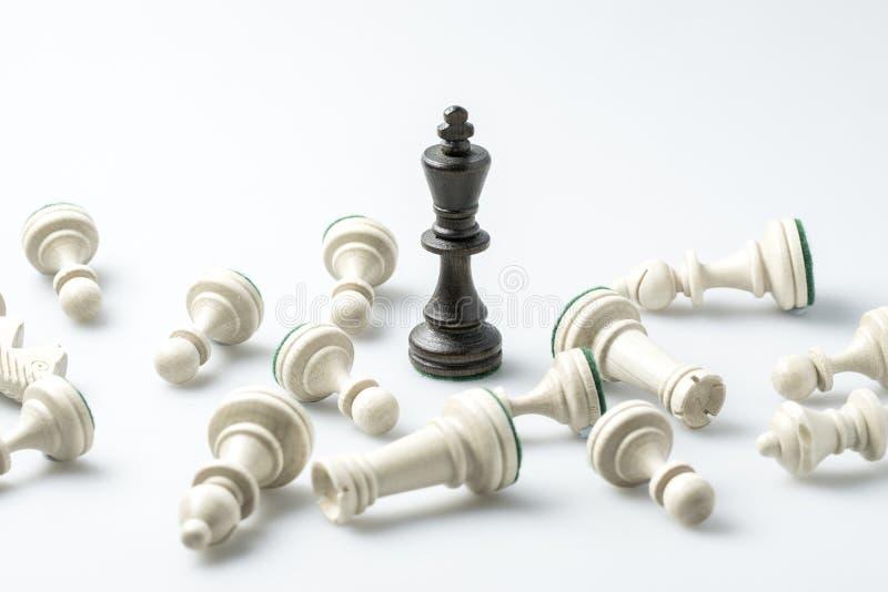 Schaakcijfer, bedrijfsconceptenstrategie, leiding, team en su royalty-vrije stock afbeeldingen