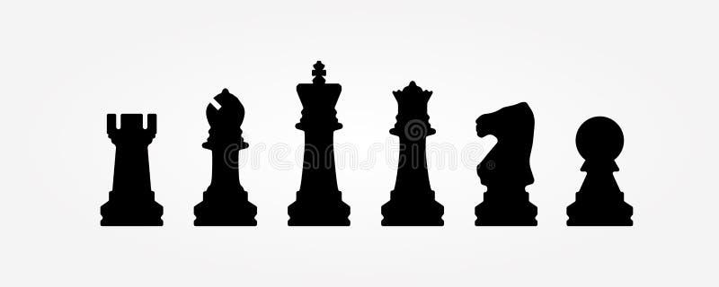 Schaakcijfers op een witte achtergrond worden ge?soleerd die royalty-vrije illustratie