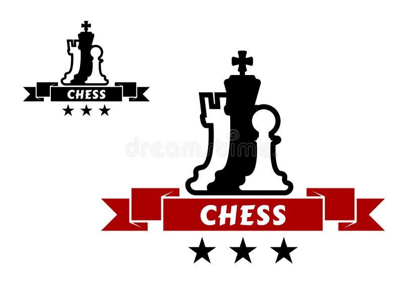 Schaakembleem met verschillende schaakstukken stock illustratie