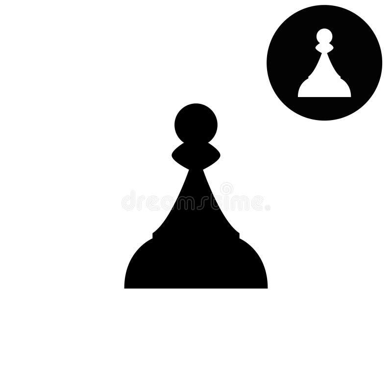 Schaakpand - wit vectorpictogram royalty-vrije illustratie