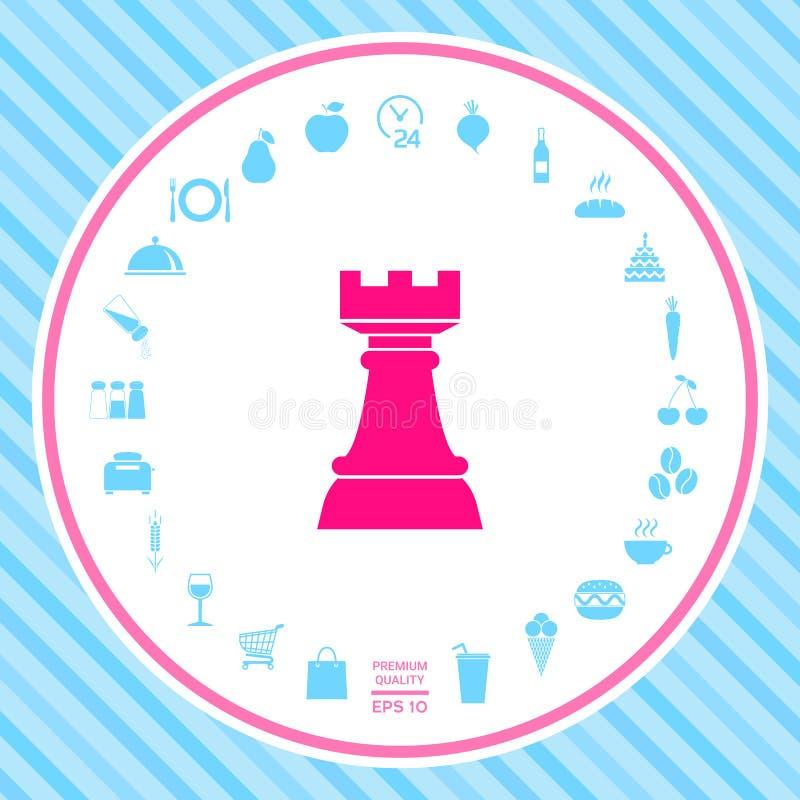 Schaakroek Strategiepictogram royalty-vrije illustratie
