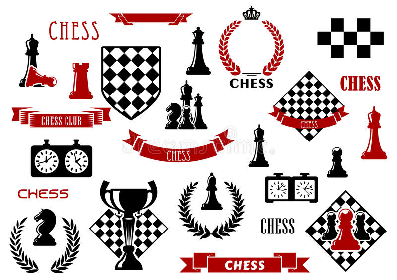 Schaakspel en heraldische ontwerpelementen vector illustratie