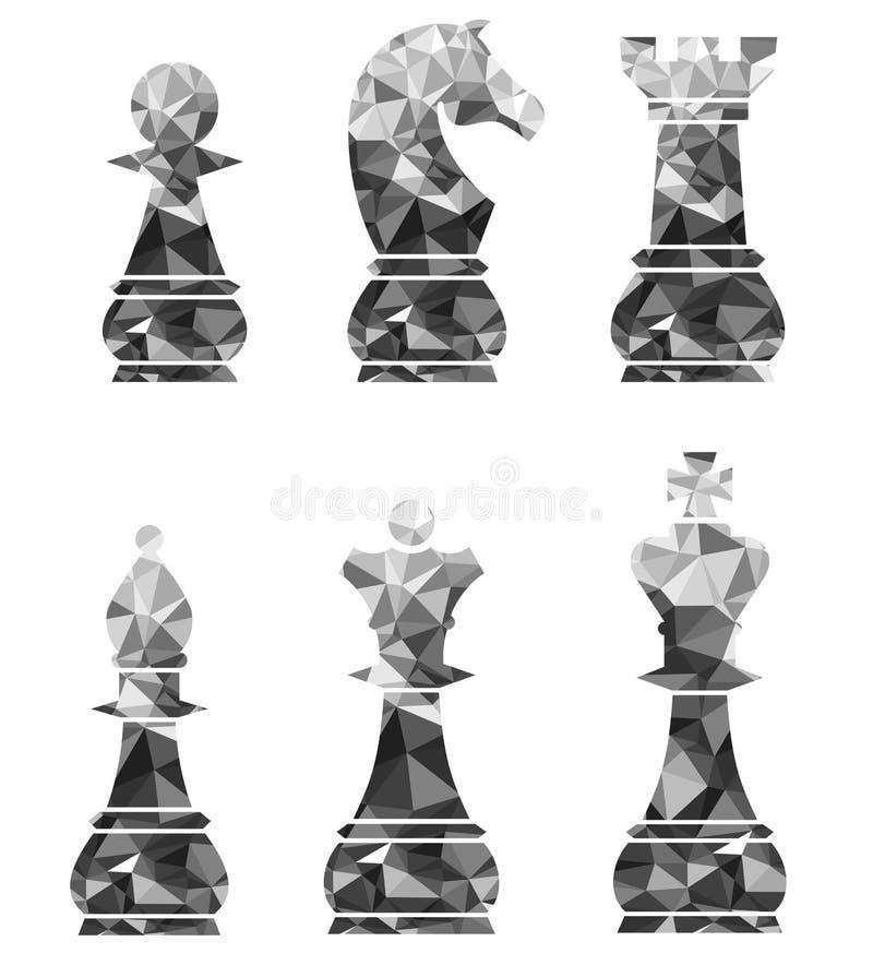 Schaakstukken met inbegrip van de Ridder en de Bischop van Koningsqueen rook pawn vector illustratie