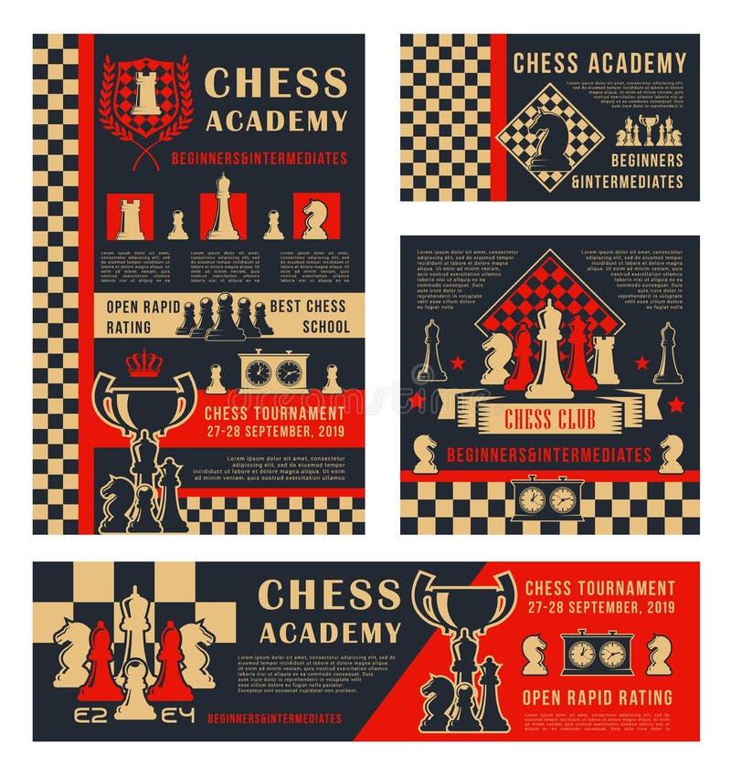 Schaaktoernooien, de academie van de sportschool royalty-vrije illustratie