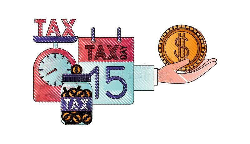 Schaal met belastingen en vastgestelde pictogrammen vector illustratie