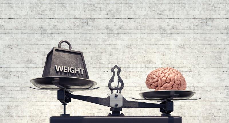 Schaal met gewicht en hersenen, saldoconcept stock illustratie