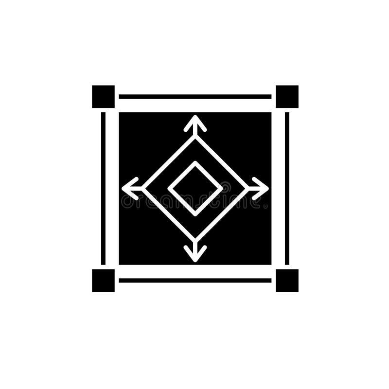 Schaal model zwart pictogram, vectorteken op geïsoleerde achtergrond Symbool van het schaal het modelconcept, illustratie vector illustratie