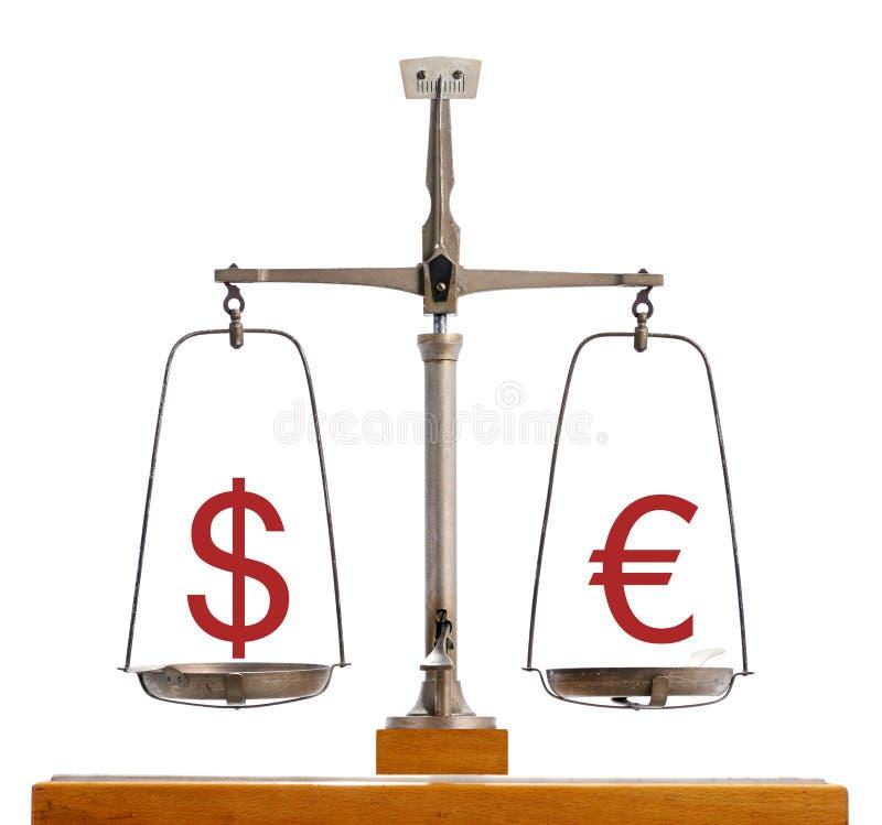 Schaal van de dollar de Euro munt royalty-vrije stock foto
