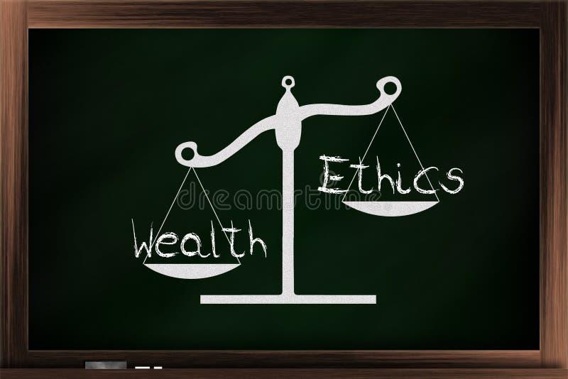 Schaal van ethiek en rijkdom vector illustratie
