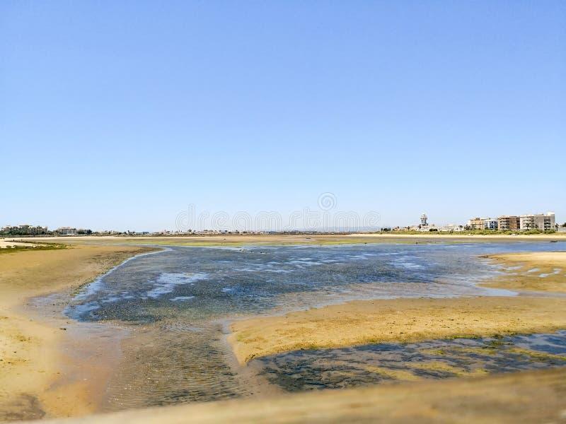 Schaaldierengebied naast het strand van islacristina, Costa de la Luz, Huelva, Spanje Cantilstrand op de achtergrond royalty-vrije stock afbeelding