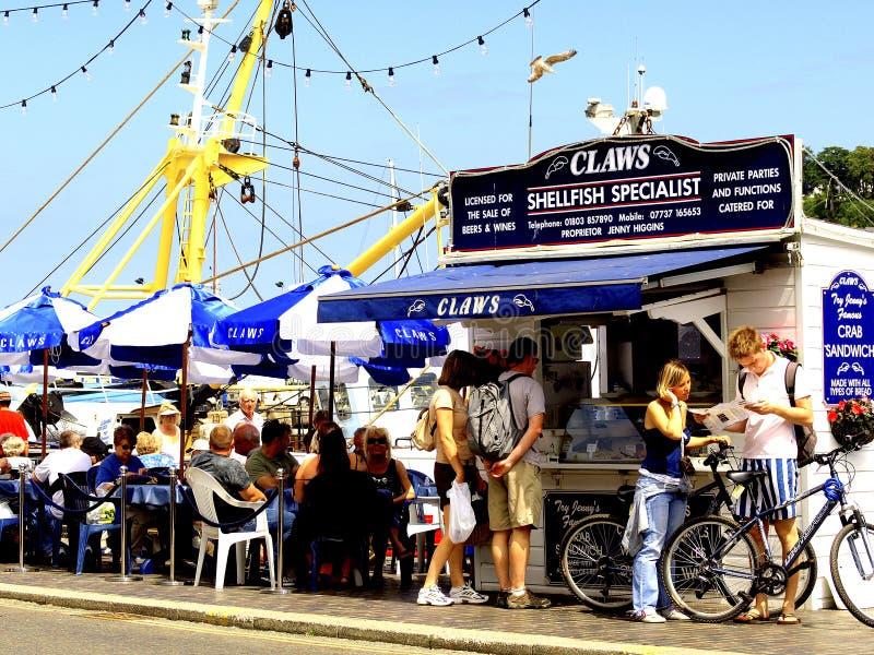 Schaaldierenrestaurant, Brixham, Devon. stock afbeelding