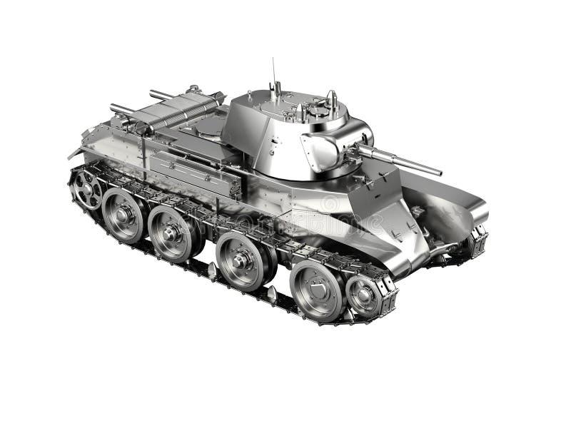 Schaalmodel van een zilveren Duits die tankstuk speelgoed van WO.II op wh wordt geïsoleerd stock afbeeldingen