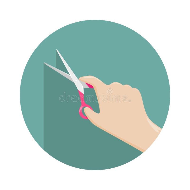 Schaar in de hand van een vrouw Hobbys en document ambachten Vlakke vectorillustratie stock illustratie
