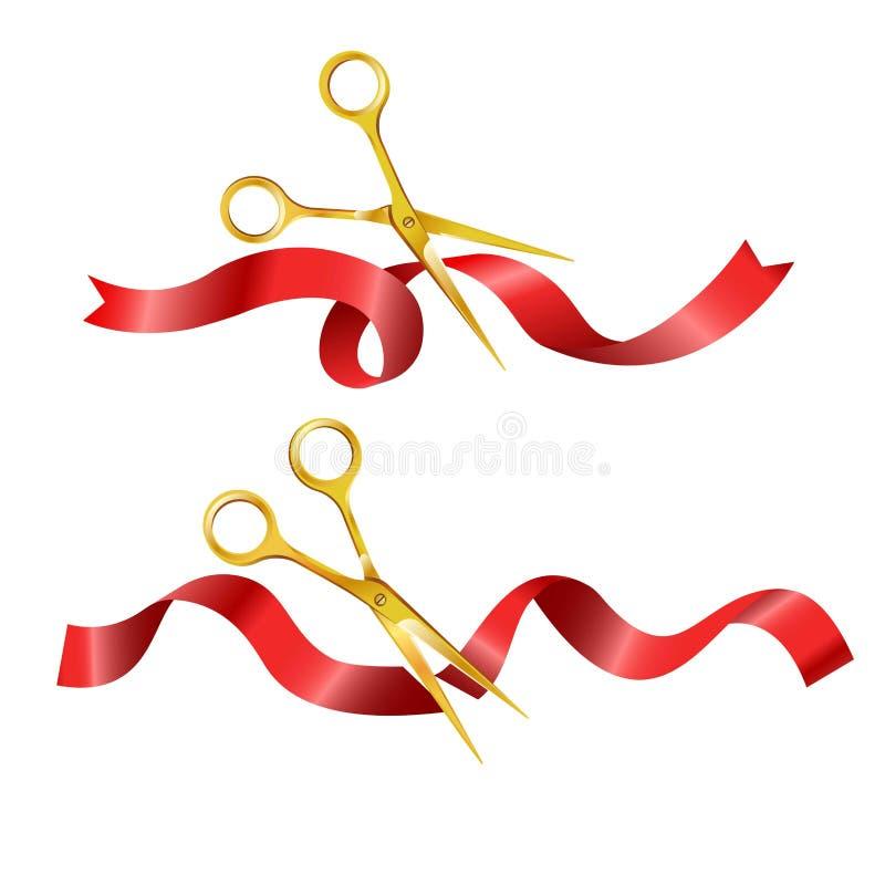 Schaar die rode lange lint vastgestelde vectorillustratie snijden royalty-vrije illustratie