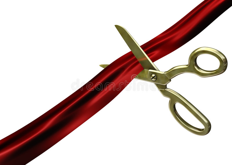 Schaar die rood lint snijdt stock illustratie