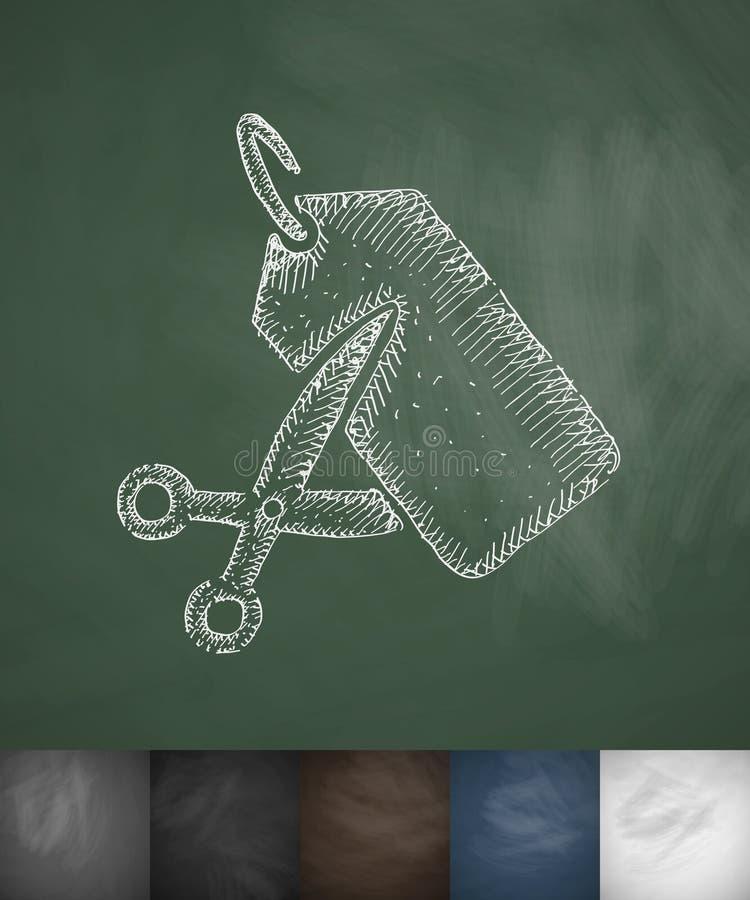 Schaar en een prijskaartjepictogram Hand getrokken vectorillustratie royalty-vrije illustratie