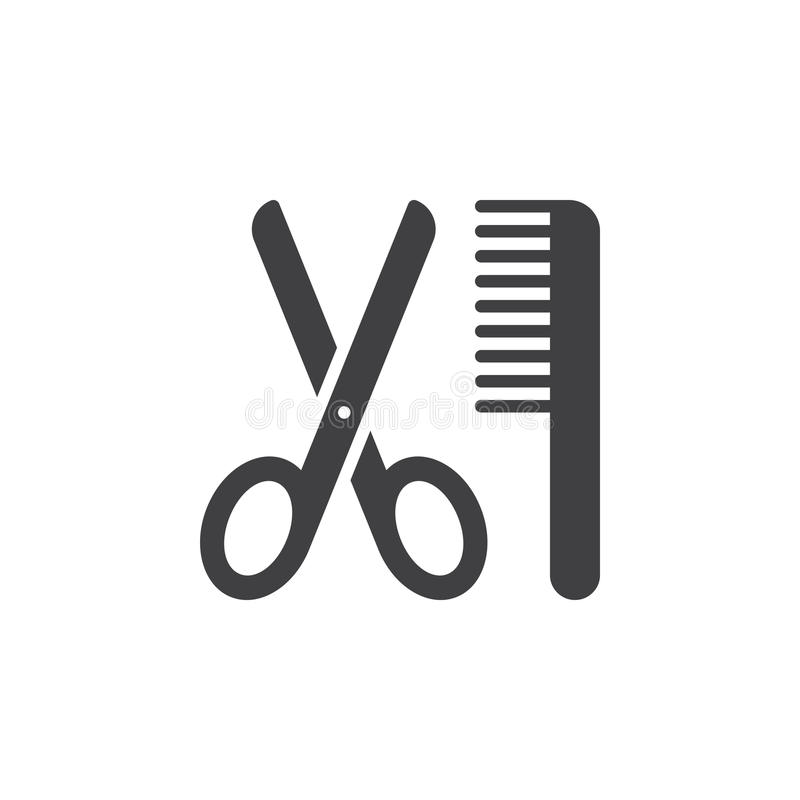 Schaar en kampictogram vector, gevuld vlak teken, stevig pictogram dat op wit wordt geïsoleerd royalty-vrije illustratie