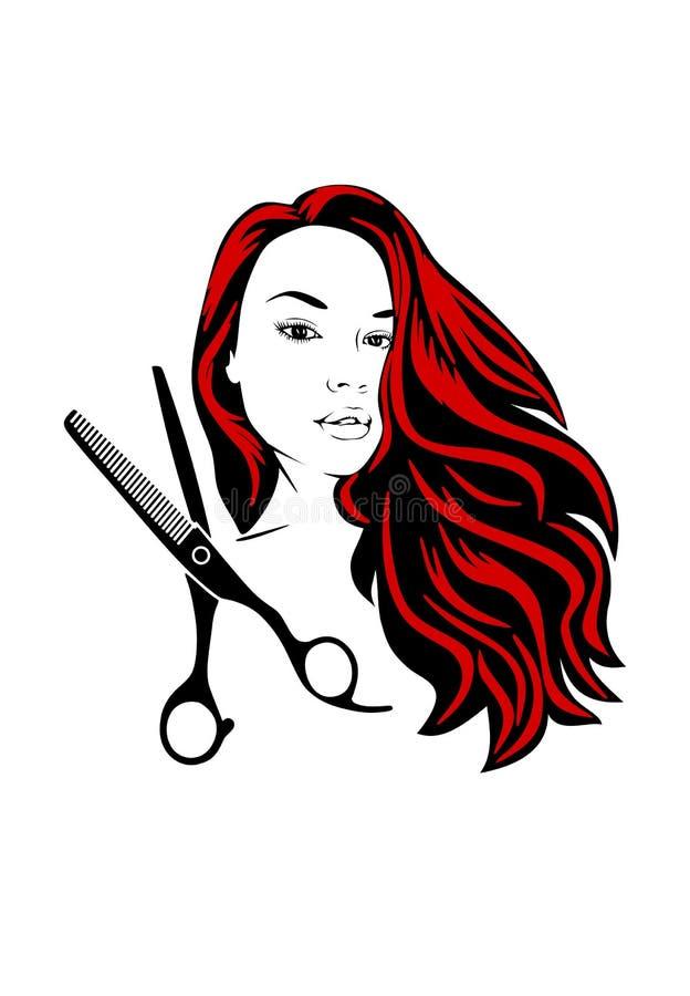 Schaar en silhouet van een mooi meisje met fladderend haar voor schoonheidssalons vector illustratie