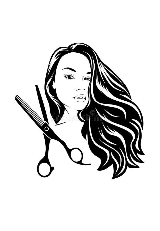 Schaar en silhouet van een mooi meisje met fladderend haar voor schoonheidssalons stock illustratie