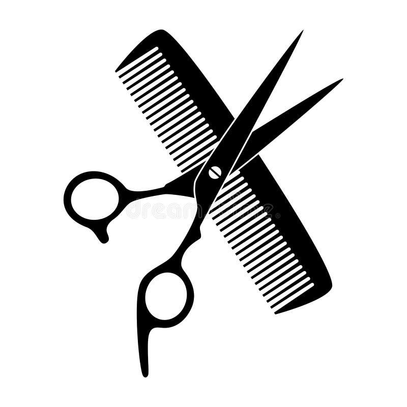 Schaar, kam en scheermes in zwarte, kapper en kappershulpmiddelenembleem royalty-vrije illustratie