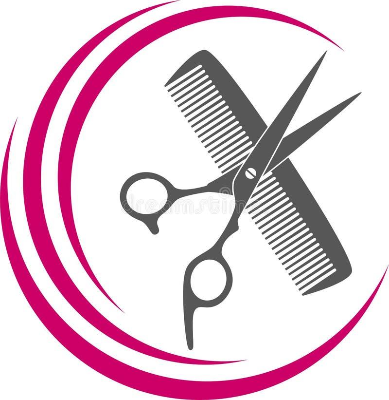 Schaar-, kam- en scheermesjes in zwart, kapper- en kappersgereedschap Logo royalty-vrije illustratie