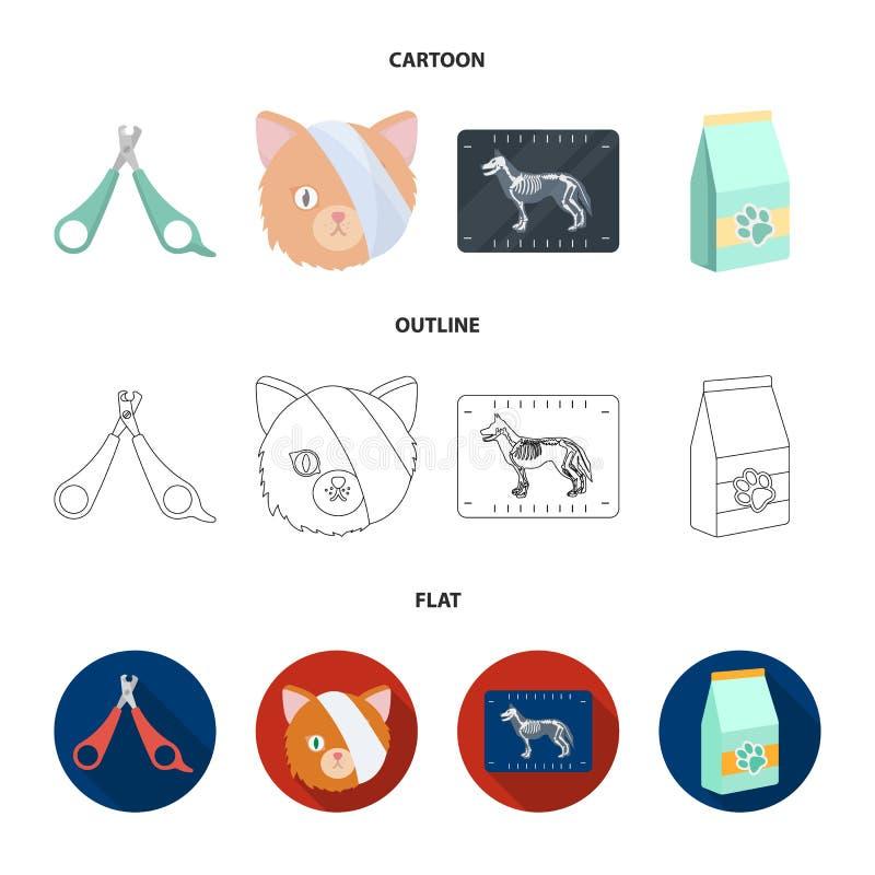Schaar, kat, verband, gewonde Vastgestelde de inzamelingspictogrammen van de dierenartskliniek in beeldverhaal, overzicht, de vla stock illustratie