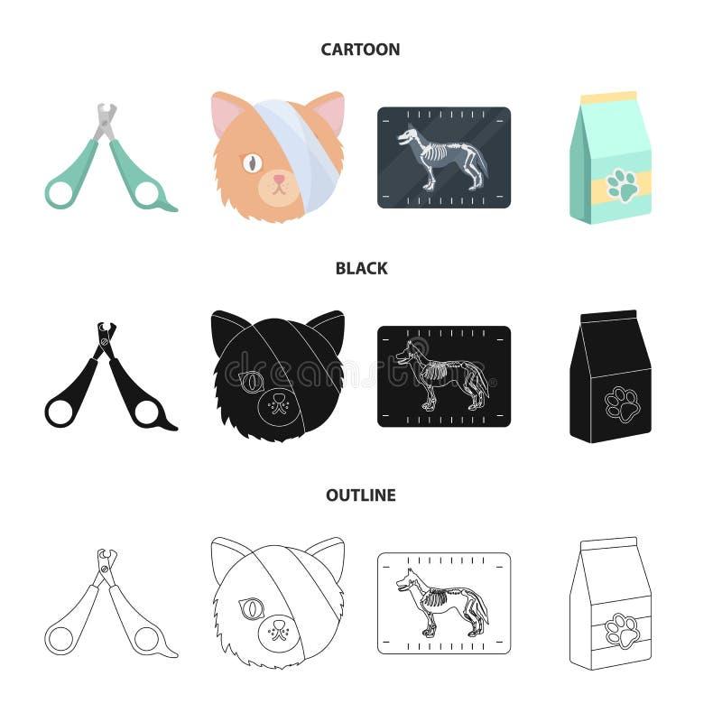 Schaar, kat, verband, gewonde Vastgestelde de inzamelingspictogrammen van de dierenartskliniek in beeldverhaal, zwarte, vector he vector illustratie